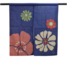$68 Noren Curtain Modern Flower in Blue designed by Sybilla  Noren curtain is a traditional Japanese fabric dividers, hung between rooms, on walls, in doorways, or in windows.   One vertical slit cut from the bottom to nearly the top of the fabric, allowing for easier passage or viewing.  Pretty modern flower  pattern on blue.   Cotton 50%, rayon 35%, linen 15%  Made in Japan.