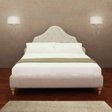 CREME FABRIC UPHOLSTERY QUEEN SIZE BED FRAME HEADBOARD FOOTBOARD RAILS New
