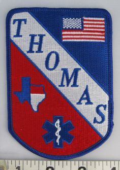 Thomas (Texas) Sew On Patch - EMS Sew-On Patch - Paramedic Patch - Embroidered Applique Patch by SimplyCraftSupplies on Etsy