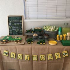 Tractor banner name banner tractor birthday party Tractor Birthday Cakes, Farm Birthday, Boy Birthday Parties, Birthday Ideas, Construction Birthday Parties, Construction Party, John Deere Party, Birthday Banners, Birthday Invitations