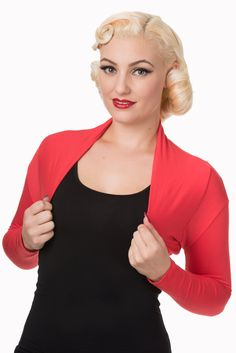Banned Apparel Folded Bolero Red Retro Vintage Rockabilly Pin Up Rockabilly Pin Up, Retro Vintage, Boutique, Stylish, Red, Pink, Clothes, Black, Women