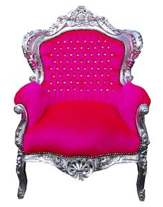 Vintage style shabby chic french hot pink throne chair | Flickr