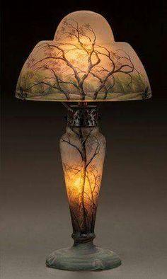 The coolest lamp ever!** Daum Frères, Nancy, Acid Etched and enameled Glass Lamp. Art Nouveau, Antique Lamps, Antique Lighting, Chandelier Lamp, Chandeliers, Rain Lamp, Lampe Art Deco, Lampe Decoration, Lamp Light