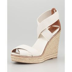 Tory Burch Adonis Stretch Espadrille Wedge, Tan ($195) found on Polyvore
