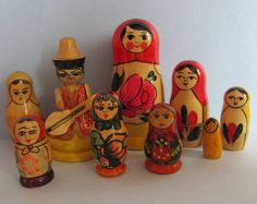 Lot of Vintage Russian Dolls and Wooden by TheCraftyCurioShop