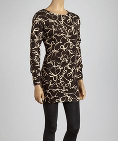Take a look at this Brown & Taupe Abstract Scoop Neck Tunic by Lady's World on #zulily today!