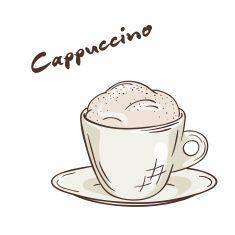vector ilustración aislado imprimible de una taza de café cappuccino vector art illustration