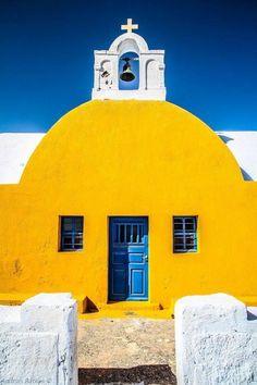A yellow chapel in #Santorini, #Greece