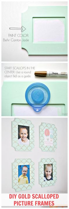 DIY Gold Scalloped Picture Frames + Free Printable | www.classyclutter.net