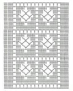 Modelo de croché filé Pode ser usado em blusas fica muito bonito.. ou uma linha mais grossa uma cortina de cozinha ou em um qto estilo romântico com linha mais fina