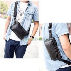 Men's Fashion Leather Messenger Shoulder Fanny Pack Waist Sling Chest Bag Pouch