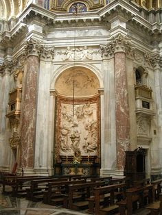 Sant'agnese_in_agone,_interno_The Martyrdom of Saint Emerentiana by Renaissance Architecture, Baroque Architecture, Architecture Office, Baroque Sculpture, Santa Ines, Doors Galore, Sculpture Images, Roman Church, Piazza Navona
