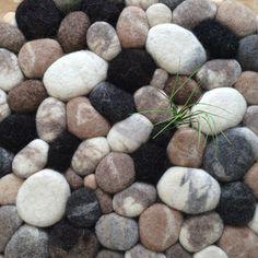 Felt stone rug wool super soft Lama Merino & Camel by flussdesign