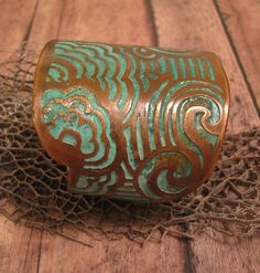 Etched Copper Cuff  Patina Land and Sea Design  by jamiespinello, $55.00  LOVE!!! hint hint Merce!