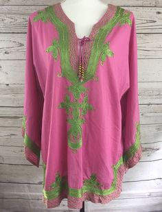 Soft Surroundings Pink Tunic w/ Green Embroidery Shirt Bell Sleeve Top Size M #SoftSurroundings #Tunic #Casual