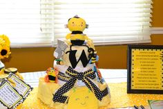 Diaper cake at a Bumble Bee Baby Shower #bumblebee #babyshower