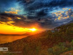 Sunset in the mountains by spikerbagger  Brela Croatia Forest Mountains Sea Sunset Travel Trees Village Sunset in the mountains spikerbagger