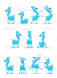 Blue Llama with Various Expressions - Animals Characters