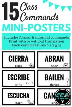 15 Spanish class command mini posters! These bold little posters will help your students survive as you speak in the TL. Great for posting on a bulletin board or at the front of the classroom.