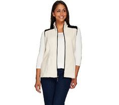 Susan Graver Weekend Polar Fleece Vest with Faux Leather Detail