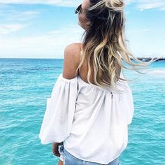 Bring the bardot trend to your casual wardrobe. Pair with blue jeans or pencil skirt. - Gathered bardot neckline - one size / will fit S,M - Model is 175 cm tall Summer Scenes, Fit S, Bardot, Warm Weather, Blue Jeans, Camisole Top, Tank Tops, Bikinis, Casual