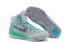Mens & Womens Nike Zoom Kobe IX Kobe 9 Original Basketball Shoes Grey Lightblue Lightgreen
