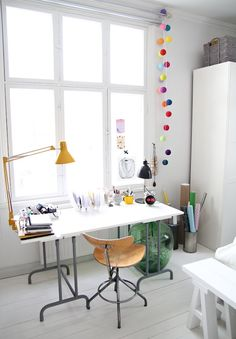 light-filled office space with great pops of colour