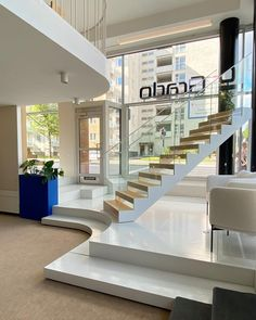 We renovated our showroom in Tampere, Finland. You can find there all our staircase models. Welcome! There is our KIDE stairs in the picture. For more information go to www.grado.fi/en White Staircase, Staircase Design, Finland, Showroom, Stairs, Models, Elegant, Home Decor, Templates