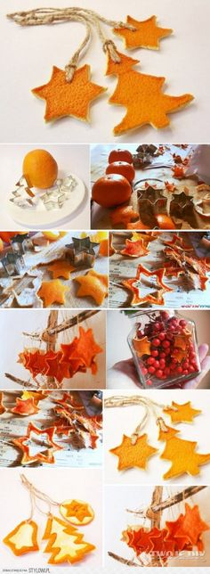 Cool idea both visually and fragrance wise, which of course you can freshen with orange oil extract! NRY - Basteln Winter Weihnachten - Diy and Home Noel Christmas, Homemade Christmas, Winter Christmas, All Things Christmas, Christmas Ornaments, Orange Ornaments, Hanging Ornaments, Christmas Tumblr, Fall Winter