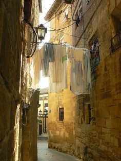 La Rioja, Spain (I mostly pinned this because I'm a sucker for pretty laundry photos. Laundry Art, Old Street, Spain And Portugal, To Infinity And Beyond, Bilbao, Land Scape, Places To See, Traveling By Yourself, Beautiful Places