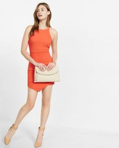 bright tamale ribbed asymmetrical sheath dress from EXPRESS