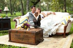 Creative Purple & Yellow Yarn Pom Pom Wedding Ideas | Bridal Musings