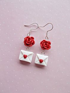 Valentines earrings created from polymer clay without molds or forms. The lenght of each earring is 4 cm, measured with hooks. ❀ Because i make everything by hand, the item you receive may differ slightly than shown on the pictures. ❀ Price is for one pair of earrings. ❀ If you buy two or