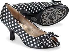 White on black polka dots - Sofft Valletta  http://www.sofftshoe.com/Sofft-Valletta-in-Black-White-Polka-Dot-Satin-color