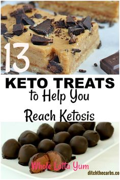 14 ketogenic dessert recipes to help you reach ketosis! These recipes are quick and easy and include keto cookies, keto fat bombs, bars and brownies. Whether you're looking for low carb dessert recipes or keto treats, you'll find a recipe to satisfy your Desserts Sains, Ketogenic Desserts, Keto Friendly Desserts, Low Carb Desserts, Healthy Desserts, Ketogenic Diet, Diet Desserts, Keto Fudge, Keto Cheesecake