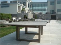 For a high end and stylish ping pong table, it is a very good idea to have Concrete ping pong table. This kind of ping pong table is very suitable for school Table Ping Pong, Outdoor Ping Pong Table, Outdoor Tables, Outdoor Spaces, Indoor Outdoor, Outdoor Living, Outdoor Decor, Outdoor Seating, Concrete Outdoor Dining Table