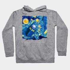 Beautiful Blue Phone booth Starry night digital art Hoodie #teepublic #hoodie #sweater #shirt #tshirt #tee #clothing #tardis #phonebooth #davidtennant #10thdoctor #doctorwho #vangogh #starrynight  #fog #mist