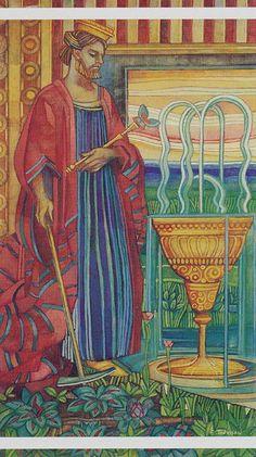 King of Cups - Crystal Tarot King Of Cups, Le Tarot, Tarot Meanings, Color Psychology, Oracle Cards, Tarot Decks, Tarot Cards, Albedo, Mystic