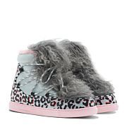 Get cosy with Quentin. Multi leopard print snow boot and wan blue suede. Finished with a hidden internal wedge, embellished with grey Mongolian fur tongue and baby pink sole. Perfect for cold seasons.