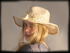 """""""Ode to Lonesome Dove"""" Dreamwear Western Hat - Parisisal, vintage lace, wood flower."""