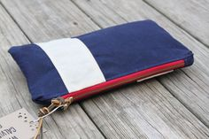 waxed canvas nautical striped zippered pouch utility by CalviRee