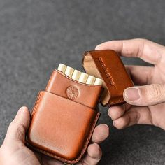 Handmade Brown Leather Mens Cigarette Holder Case Cool Custom Cigarette Case for Men Leather Gifts, Leather Craft, Leather Wallet, Handmade Leather, Anniversary Gift Ideas For Him Boyfriend, Custom Leather Belts, Leather Working Patterns, Cigarette Holder, Leather Projects