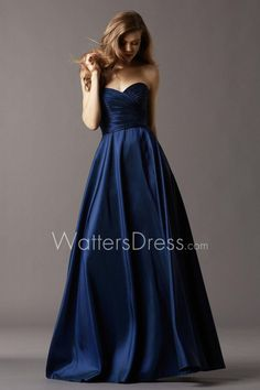 navy taffeta strapless sweetheart neck draped floor length designer bridesmaid ball gown