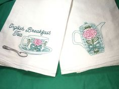 ENGLISH BREAKFAST TEA CUP &TEAPOT-2 New hand embroidered 30X30 flour sack towels #Handembroideredwithallnewmaterials