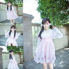 Japanese Style Sweet Pink Cherry Blossoms Lolita Kawaii Short Dress Long Sleeve