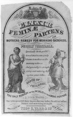 Patent Medicine Label - Mothers Remedy for Morning Sickness - mid- to late 19th century
