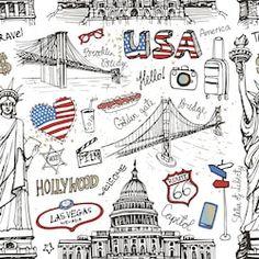 New York Doodle seamless pattern.American travel symbols in hand drawn sketch.Vector icons,sign of landmark,lettering. Travel Symbols, Drawing Sketches, Drawings, Nyc Drawing, Voyage New York, Travel Drawing, Travel Wallpaper, Travel Scrapbook, Moleskine