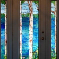 Custom Handcrafted Stained Glass Grand Entrance Doors. Lakeview custom made by Or Design Glassworks