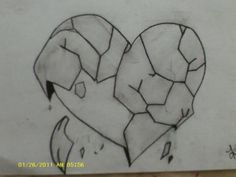 Broken Heart (in Charcoal Pen.cil) Drawing ..