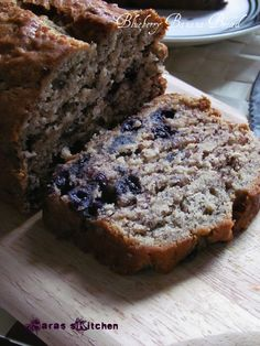 Eggless blueberry banana bread - We make this recipe once a week now.  I suggest using 3/4 of a cup of white sugar instead if 1 cup and i always use all butter instead of 1/2 oil. If you're making a loaf, the cooking time may be longer, just eyeball it and remove from the oven when a knife comes out clean.  One recipe also makes about 14 regular sized muffins. Perfection!
